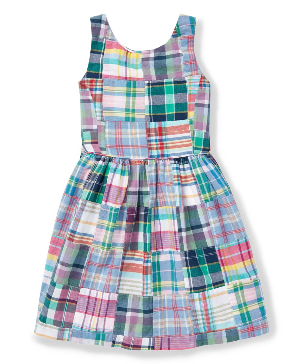 9fbd488754 Polo Ralph Lauren Blue Patchwork Cotton Madras Sleeveless Dress - Girls