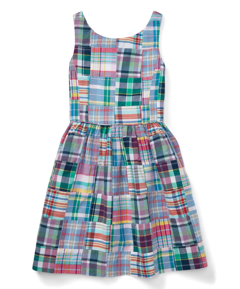 0e7d7aa1c7 Polo Ralph Lauren Pink & Teal Patchwork Cotton Madras Sleeveless Dress -  Girls