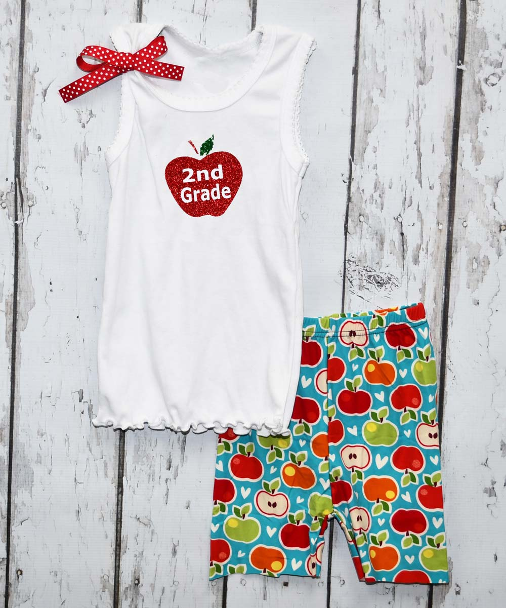 Beary Basics Girls' Casual Shorts 2ND - White '2nd Grade' Apple Tank & Blue & Red Apple Shorts - Girls