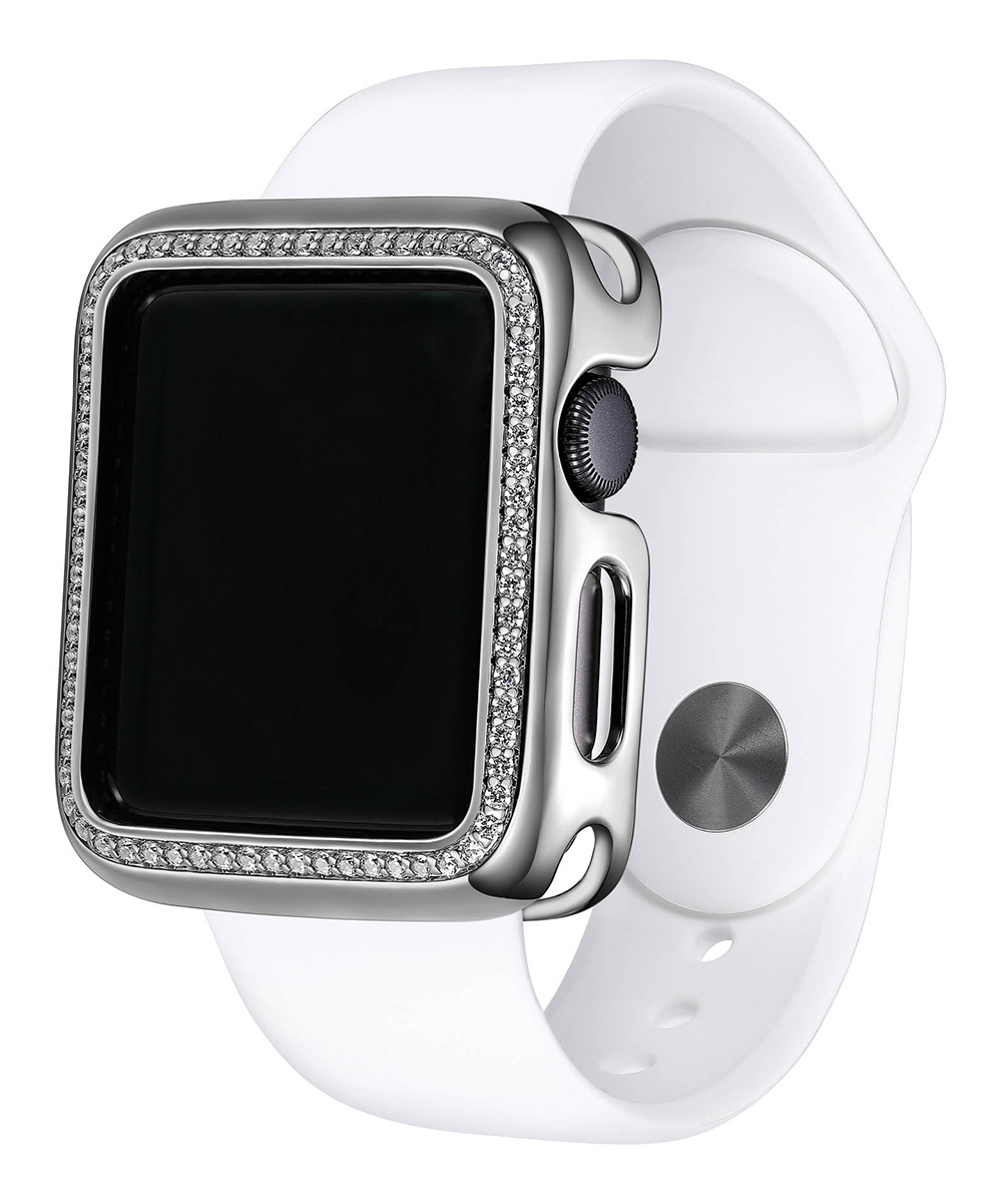 Silver Halo Apple Watch Case Silver Halo Apple Watch Case.  Bling-ify your sleek Apple watch with this case that adds of touch of razzle-dazzle.Includes one gasket ( does not include apple watch, battery or band)1.54'' W x 1.81'' H x 0.56'' DBronze / cubic zirconia / silicone gasketImported