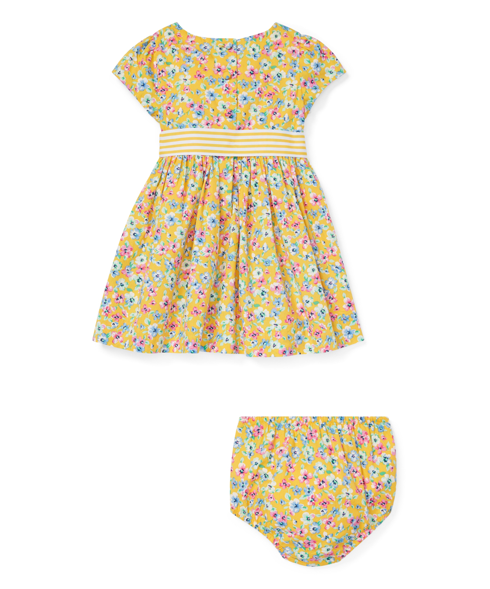 4498db92802c love this product Yellow   Pink Floral Bow Tie Fit   Flare Dress   Bloomers  - Infant