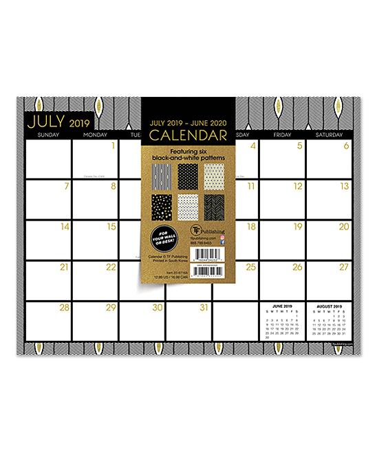 TF Publishing Black & White Academic July 2019-June 2020 Desk Pad Calendar