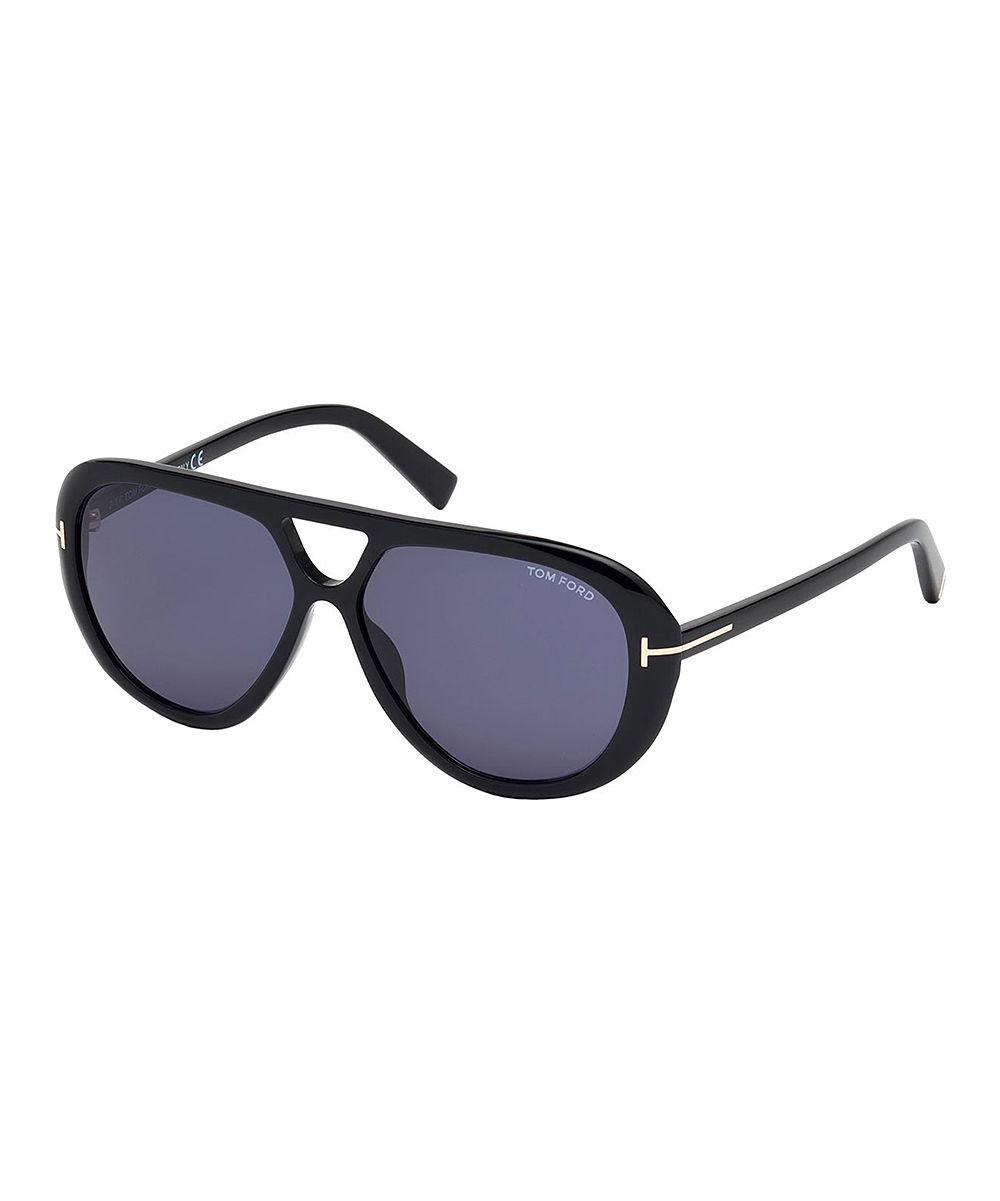 Shiny Black Marley Modified Aviator Sunglasses - Men Shiny Black Marley Modified Aviator Sunglasses - Men. Polish off his look with these designer shades to protect his eyes while he's on the road or hanging out with friends outdoors. Includes sunglasses, cleaning cloth and caseLens width: 59 mmBridge distance: 13 mmArm length: 145 mmAcetate100% UV protectionImported