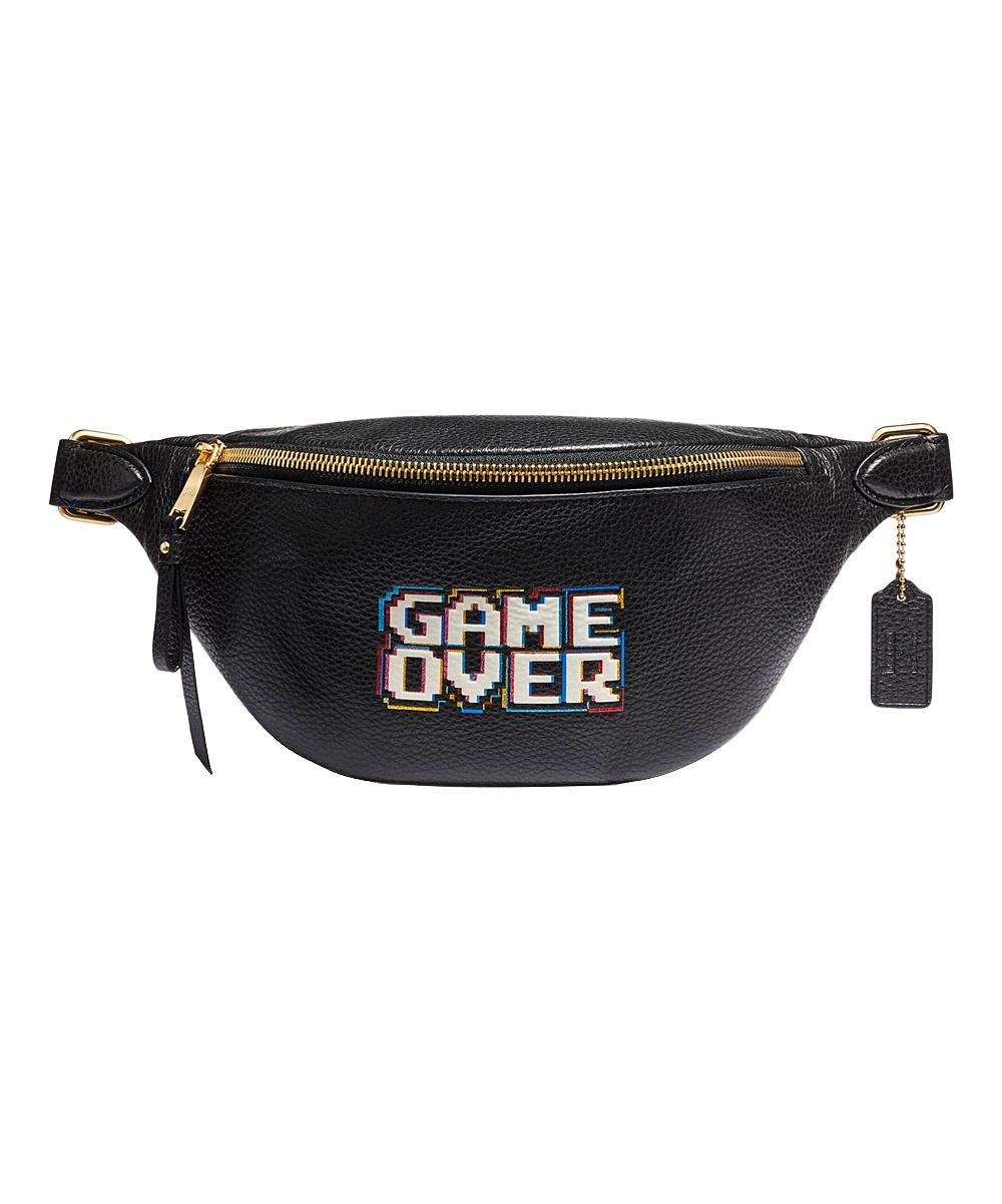 24514566d9 Coach Black 'Game Over' Pac-Man Leather Belt Bag