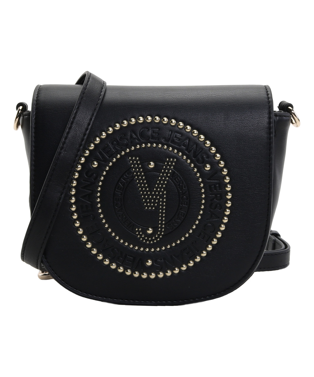 21febaf04a Versace Jeans Collection Black Logo-Embossed Leather Crossbody Bag