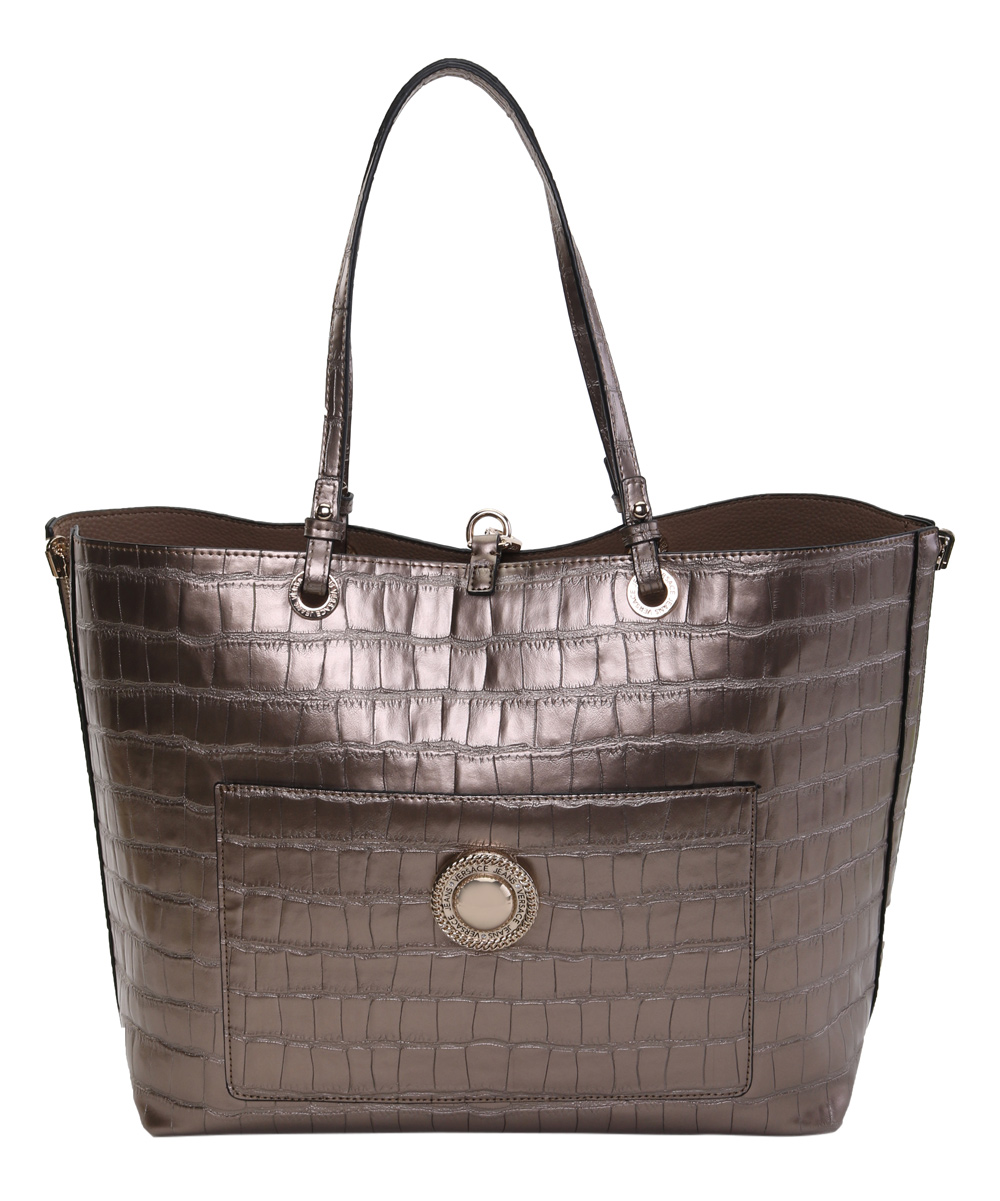 adf60a5be8 Versace Jeans Collection Oro & Gold Croc-Embossed Leather Tote & Crossbody  Bag