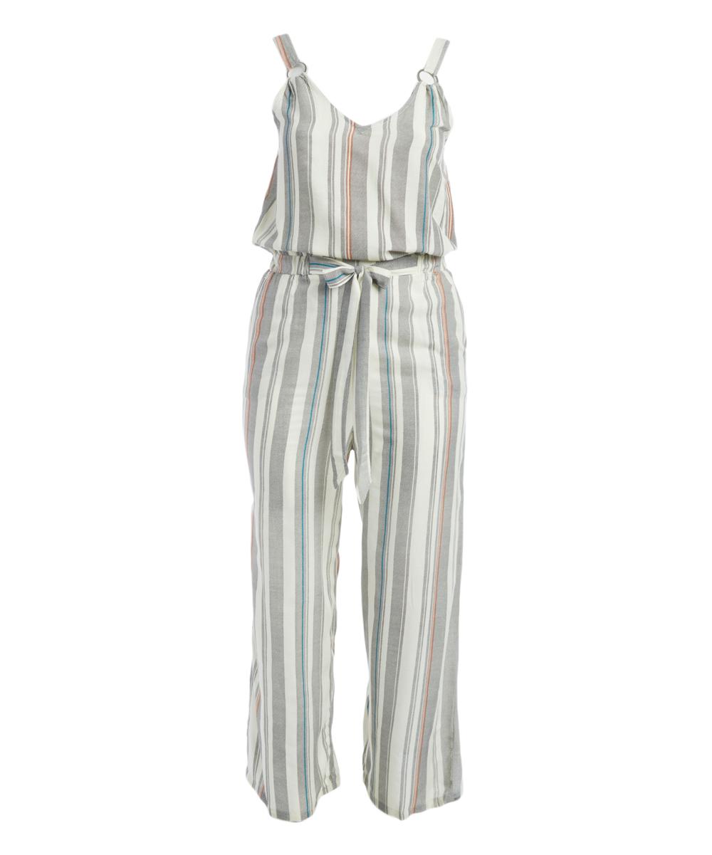 White & Gray V-Neck Sleeveless Jumpsuit - Plus