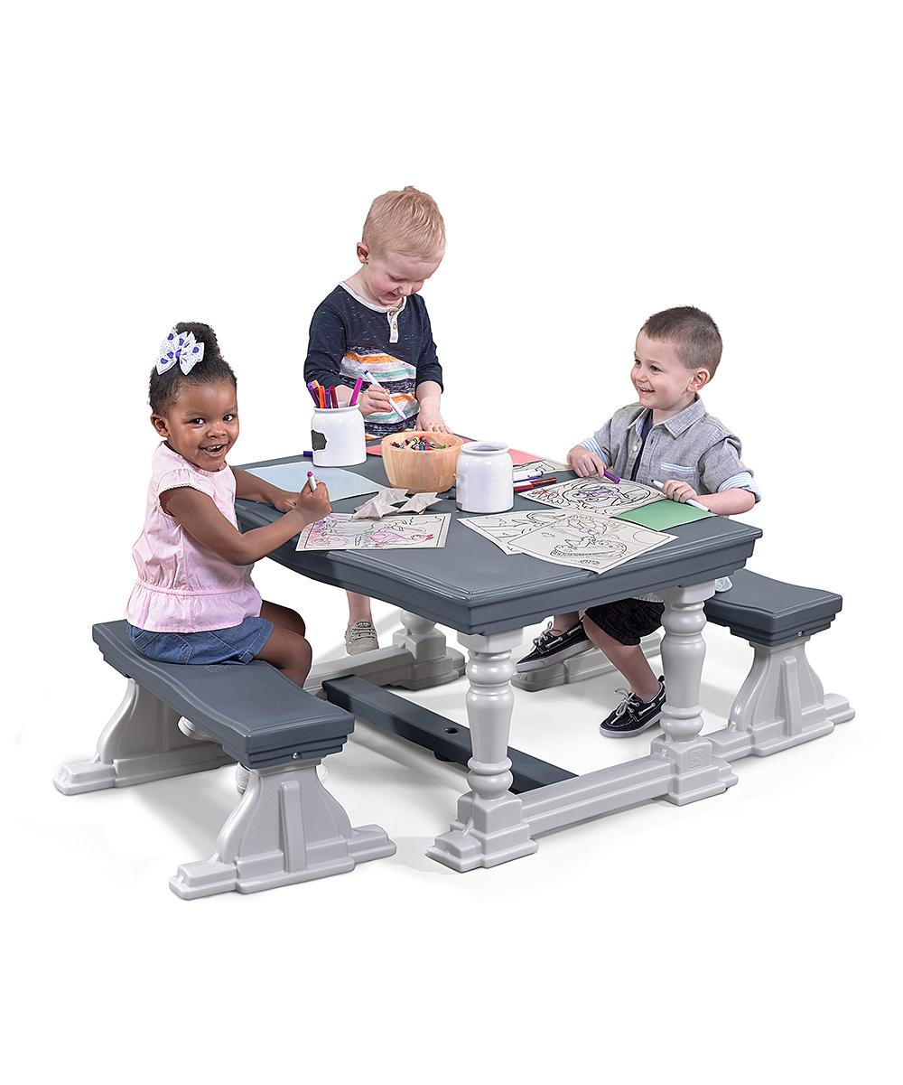 Step2  Toy Furniture  - Gray & White Farmhouse Toy Bench & Table - Set of Three