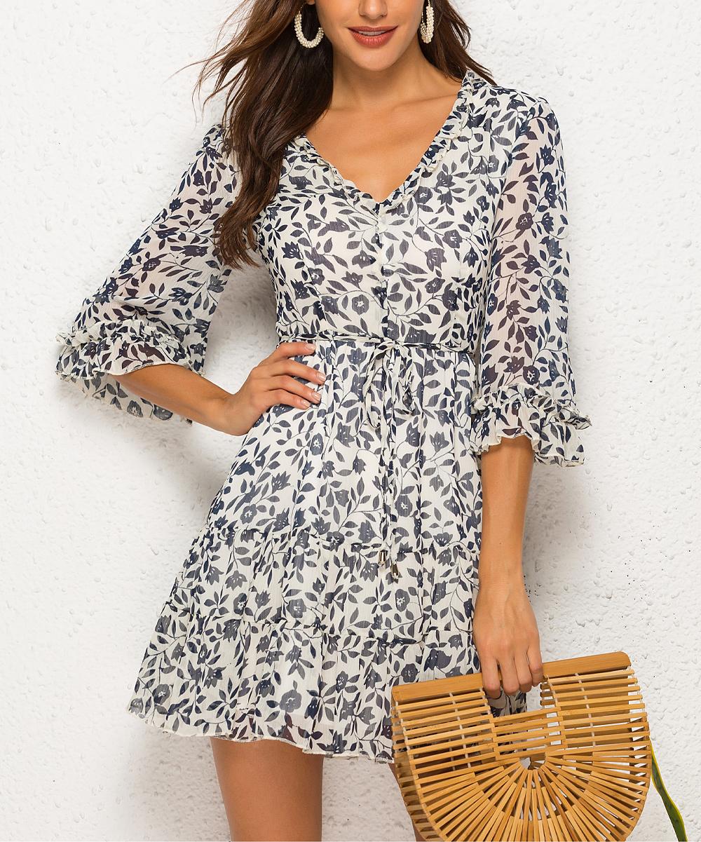 b707bc2563133 VUTTI Gray & Off-White Floral Chiffon Crisscross-Back V-Neck Dress ...