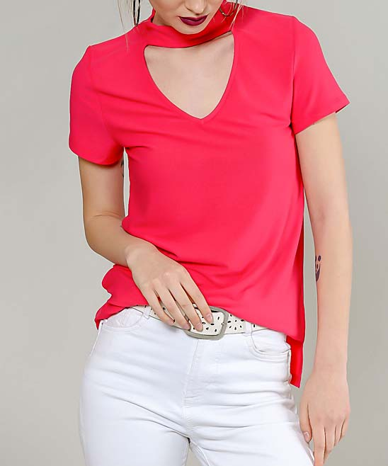 661a446f138f65 ... Womens Pink Red Choker-Cutout Top - Alternate Image 2 ...