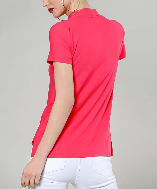 e5c1f516e4de7d ... Womens Pink Red Choker-Cutout Top - Alternate Image 3