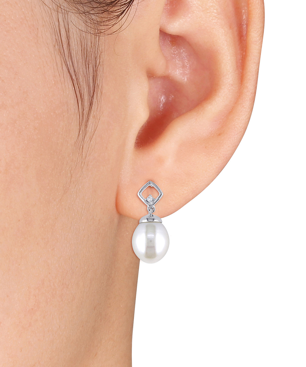abb6209eb ... Womens White Cultured Pearl & Diamond-Accent Ball Stud Earrings -  Alternate Image ...