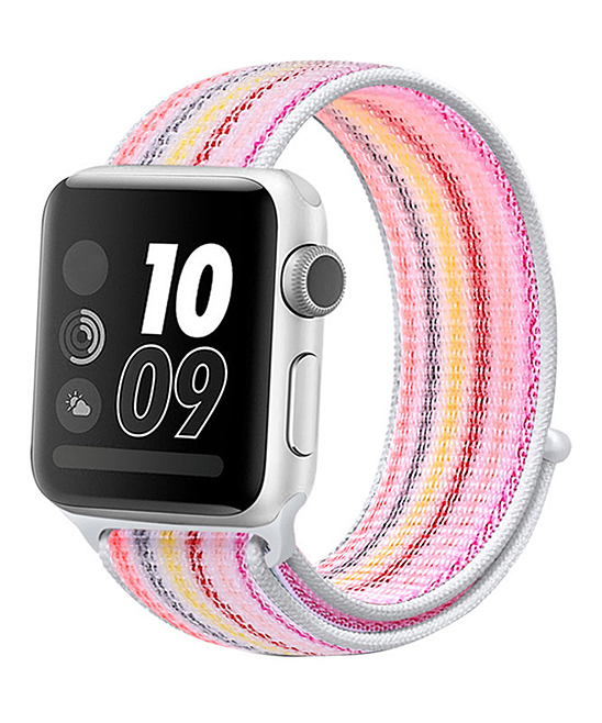 GONABE Women's Smart Watches pink - Pink Stripe Nylon Band for Apple Watch