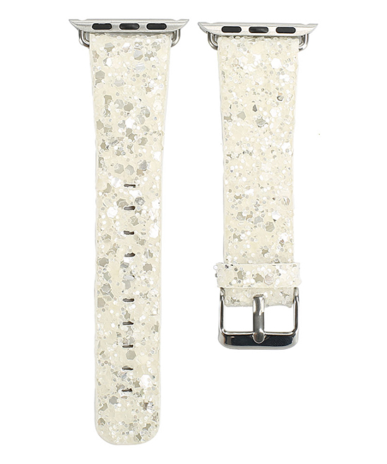 GONABE Women's Smart Watches white - White Glitter Leather Band for Apple Watch