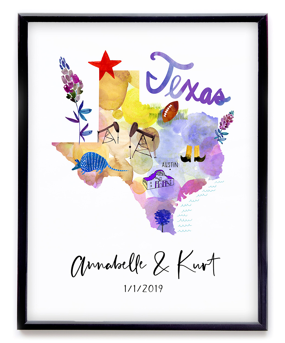 Show A Map Of Texas.Paper Loop Purple Texas Map Personalized Print