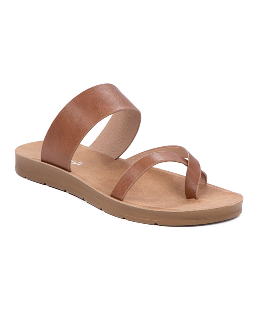 Tan Cross-Strap Ashley Sandals - Women Tan Cross-Strap Ashley Sandals - Women. Add some style to your sunny-day steps with these on-trend sandals flaunting contemporary crossed straps and subtle platforms for an extra lift. Man-made upperMan-made liningMan-made soleImported