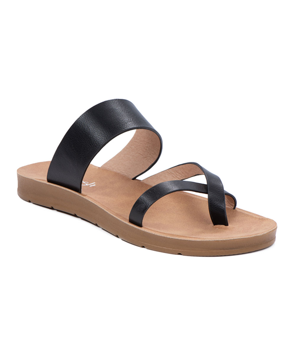 Black Cross-Strap Ashley Sandals - Women Black Cross-Strap Ashley Sandals - Women. Add some style to your sunny-day steps with these on-trend sandals flaunting contemporary crossed straps and subtle platforms for an extra lift. Man-made upperMan-made liningMan-made soleImported