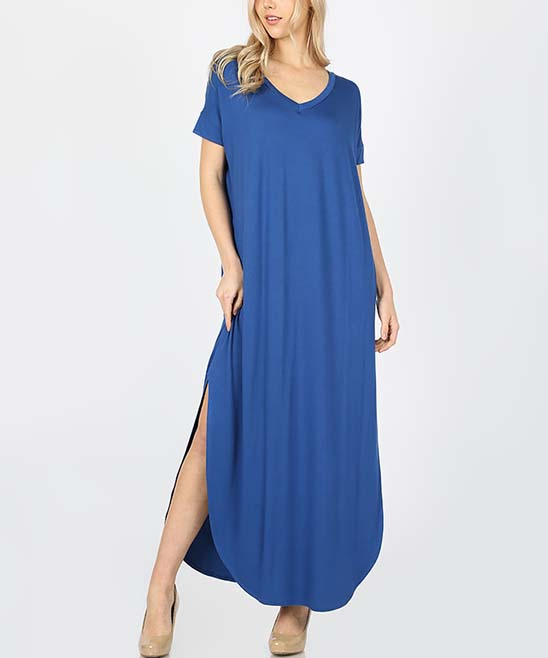 Sapphire V-Neck Maxi Dress - Women Sapphire V-Neck Maxi Dress - Women. Designed with a relaxed, flowing fit and a curved hem with flirty side slits, this short-sleeved maxi dress can be worn with comfort all day and then dressed up for dinner with statement jewelry and heels. Size S: 52'' long from high point of shoulder to hemModel (wearing size S): 5'8'' tall; 34'' chest; 24'' waist; 36'' hips75% viscose / 22% polyester / 3% elastaneMachine wash Imported