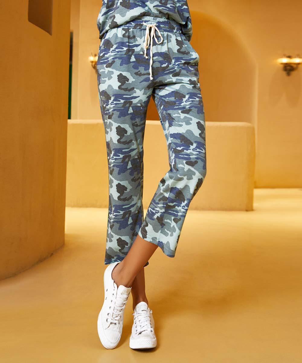 fc93ff4030cb2 ... Womens 101BLUE CAMO PRT Blue Camo Contrast-Stripe Side-Pocket Crop  Sweatpants - Alternate ...