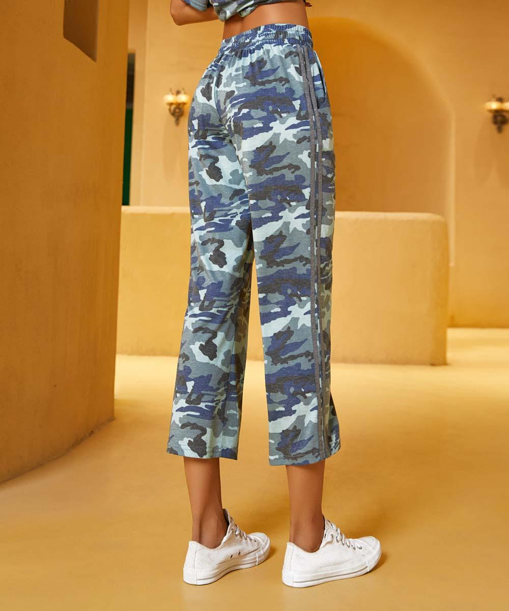4ab2f3a9ce892 ... Womens 101BLUE CAMO PRT Blue Camo Contrast-Stripe Side-Pocket Crop  Sweatpants - Alternate