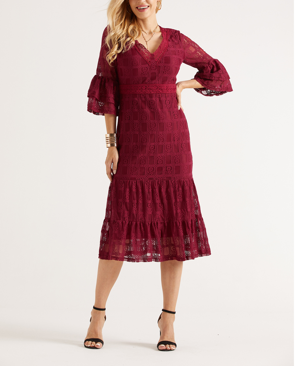 Suzanne Betro Dresses Burgundy Lace Tiered Midi Dress Women Plus
