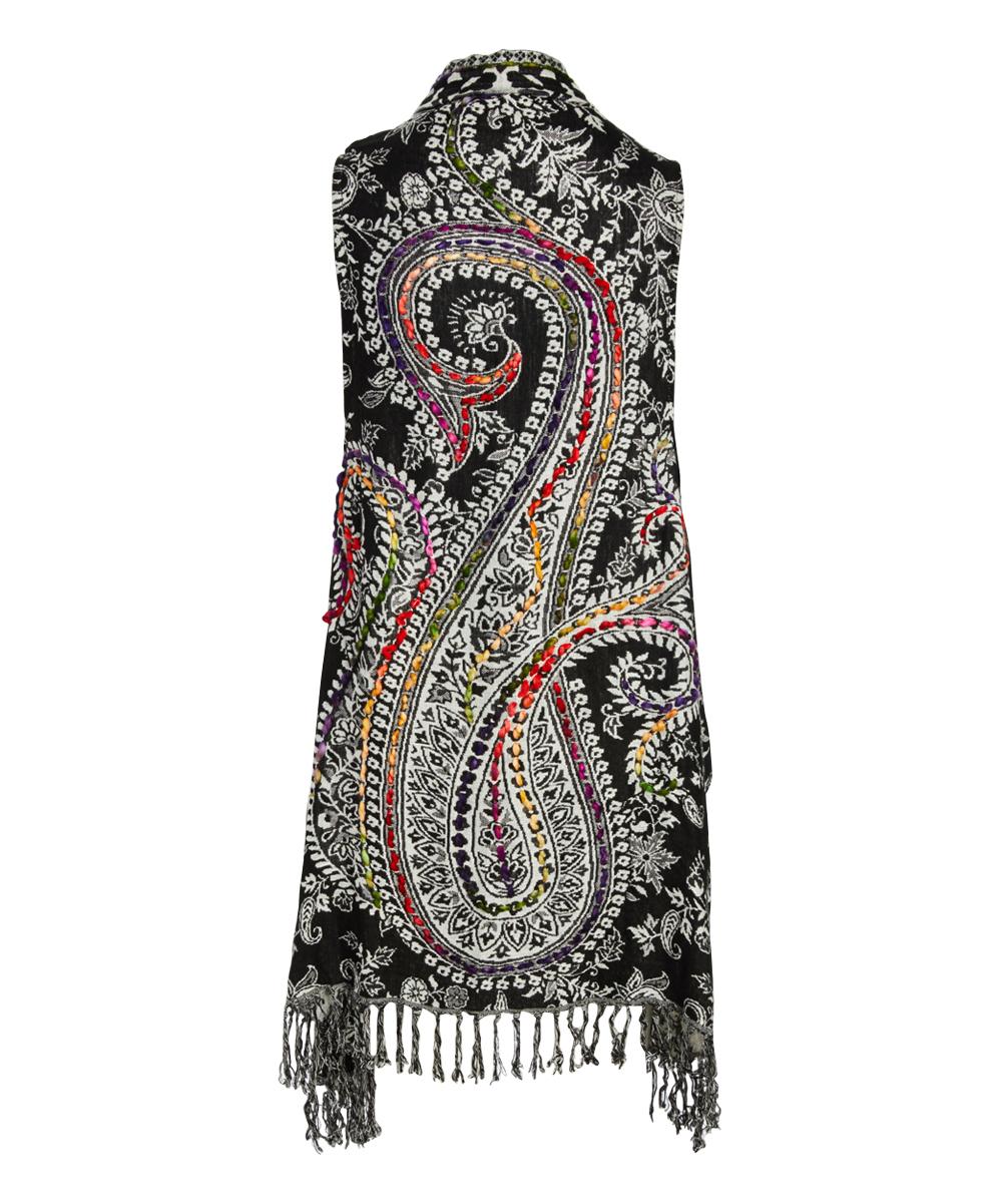 0b48a6706 ... Womens BLACK / WHITE Black & White Abstract Lola Reversible Kimono Vest  - Alternate Image 2