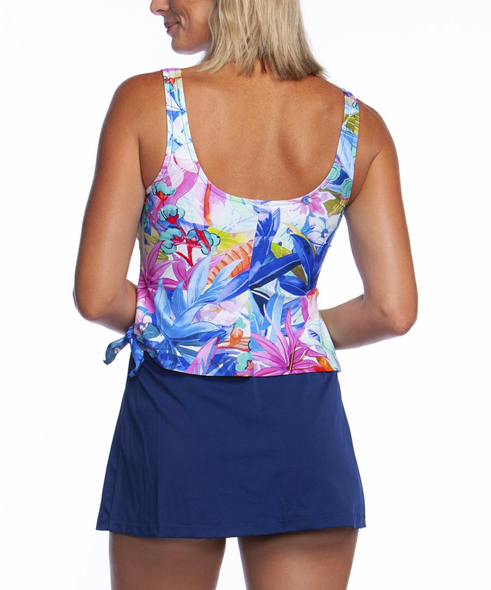 d18f5a60e6 Maxine Pink & Blue Potpourri Contrast Swimdress - Women | Zulily