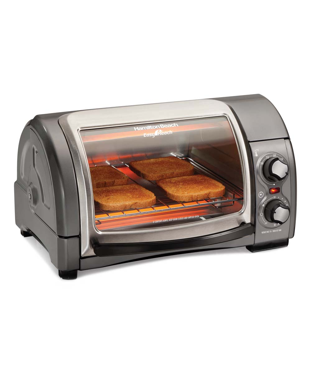 Hamilton Beach  Toaster Ovens SILVER - Small Easy Reach Toaster Oven with Roll-Top Door Small Easy Reach Toaster Oven with Roll-Top Door. Whip up tasty snacks in a flash with this counter-ready toaster oven featuring a roll-top door for ease of use. FeaturesOptional convection mode6-slice toast capacityTwo rack positionsRoll-top door makes food easily accessibleProduct details17.38'' W x 10.5'' H x 13.62'' DMetalImported