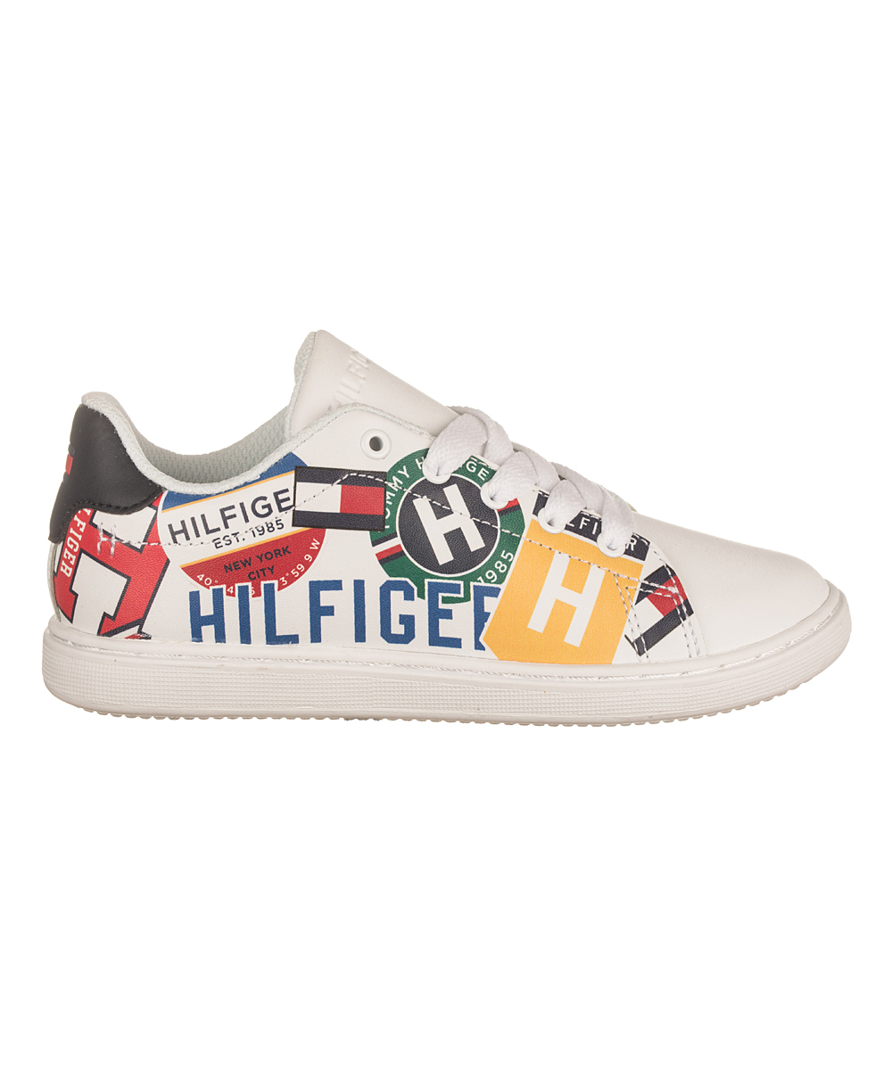 Tommy Hilfiger Boys' Sneakers MULTI/WHITE - Red & Yellow Logo Iconic Court Sneaker - Boys
