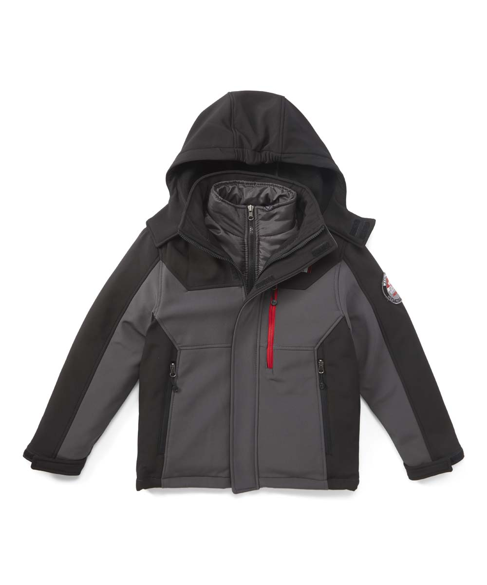 32 Degrees Boys' Windbreakers and Shell Jackets CHARCOAL/BLACK - Charcoal & Black Hooded Soft-Shell Jacket - Toddler & Boys