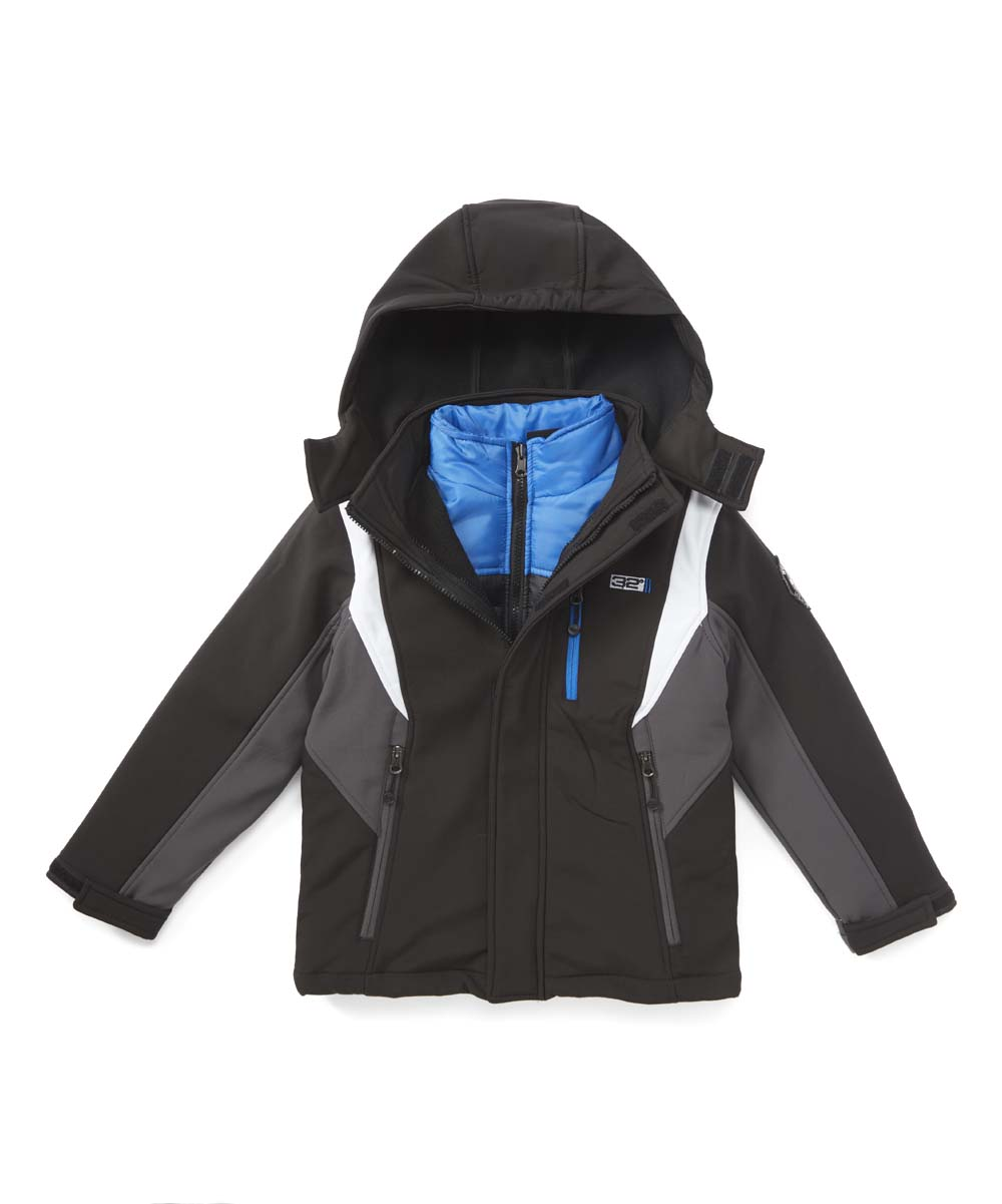 32 Degrees Boys' Windbreakers and Shell Jackets BLACK/CHARCOAL - Black & Charcoal Hooded Soft-Shell Jacket - Toddler & Boys