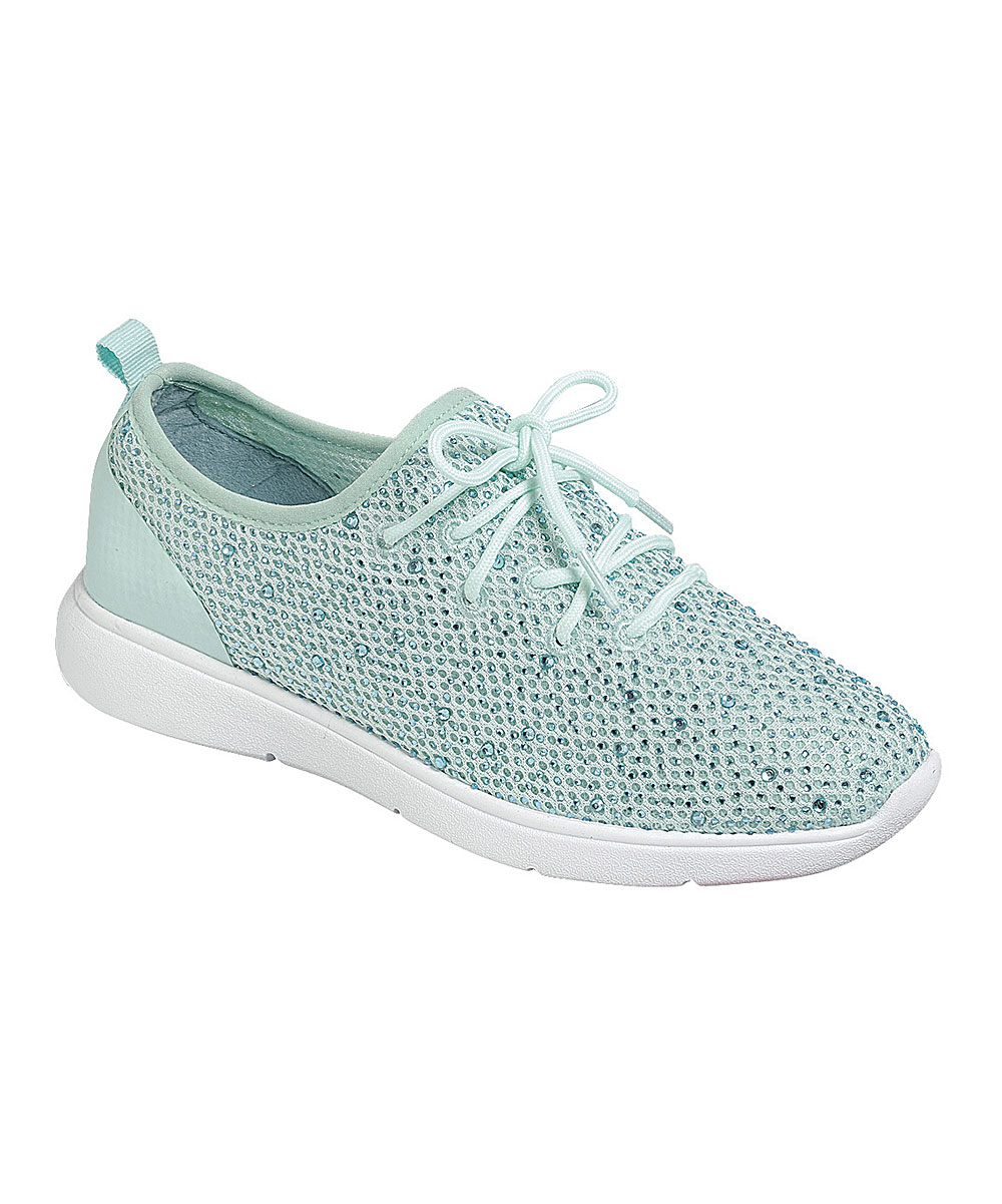 Forever Link Shoes Women's Sneakers AQUA - Aqua Marine Mesh Crystal Sparkle Lace-Up Sneaker - Women