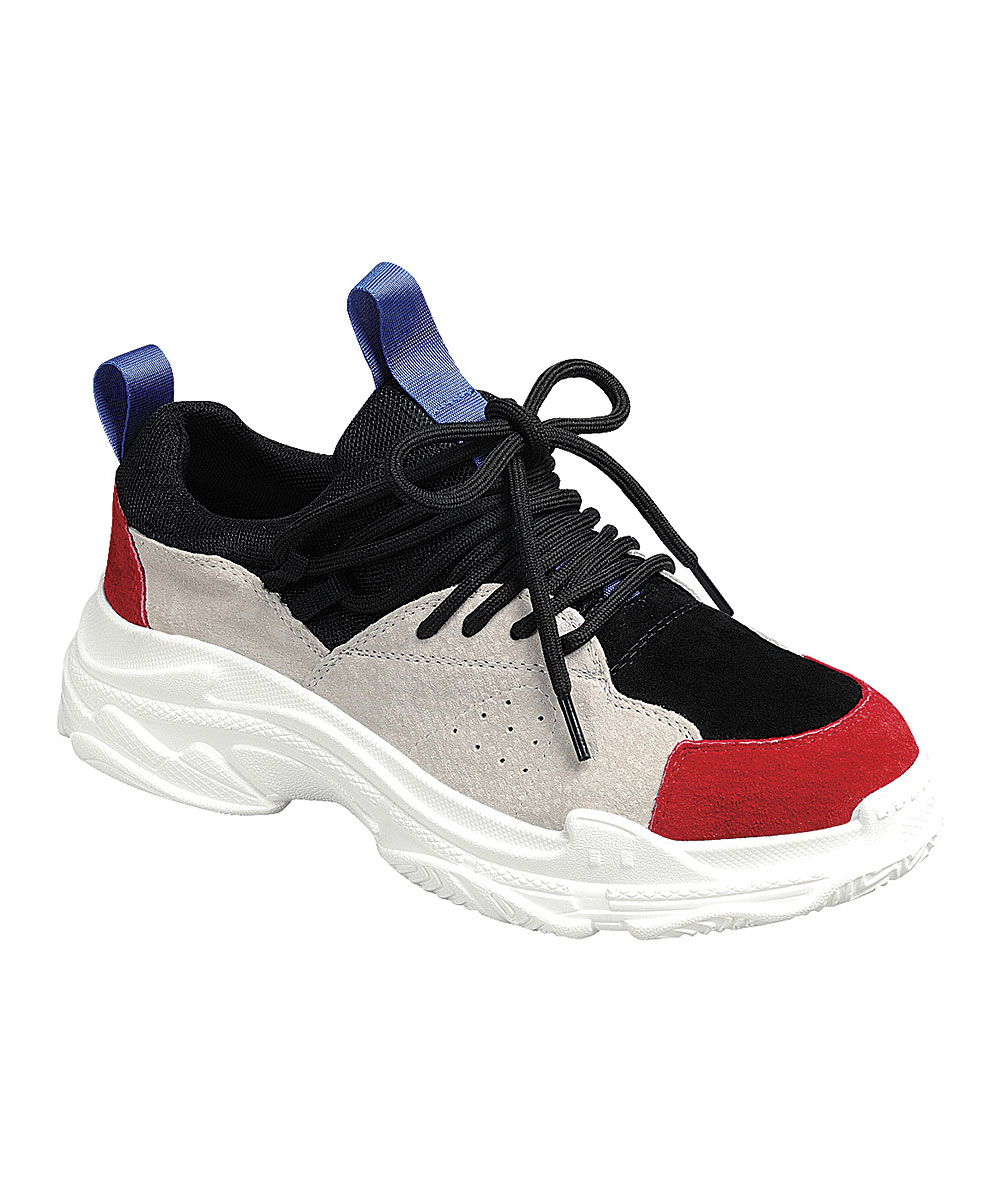 Forever Link Shoes Women's Sneakers RED/BLACK - Red & Black Daddy Lace-Up Sneaker - Women