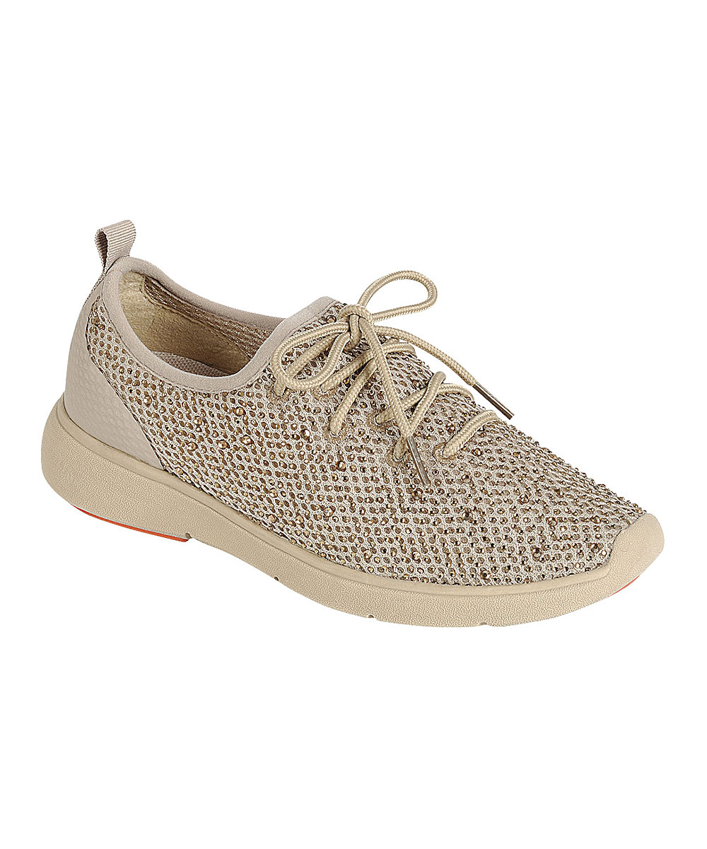 Forever Link Shoes Women's Sneakers BEIGE - Beige Mesh Crystal Sparkle Lace-Up Sneaker - Women