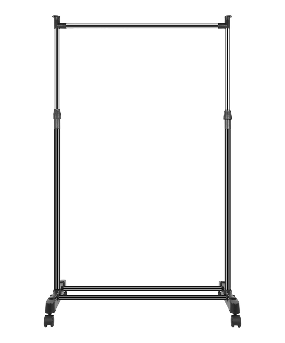 Stainless Steel Clothing Rack Stainless Steel Clothing Rack. The world becomes your closet with this portable clothing rack featuring an adjustable design, and four smooth-rolling wheels for portability. 3.07'' W x 1.7'' H x 30.3'' DPolypropylene / plastic / stainless steelAssembly requiredImported