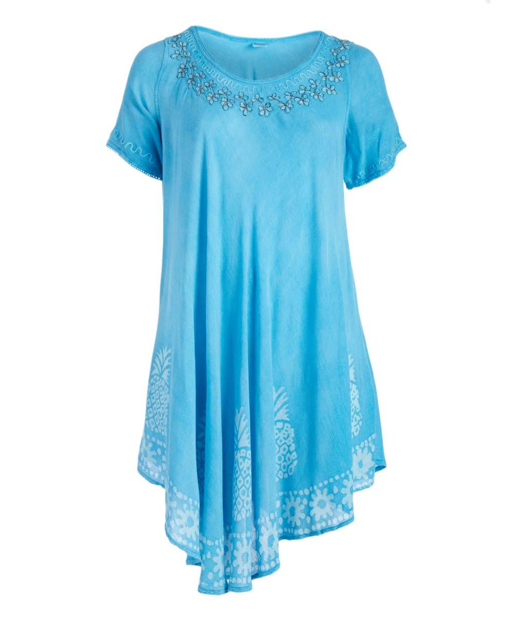 Turquoise Pineapple T-Shirt Dress - Plus