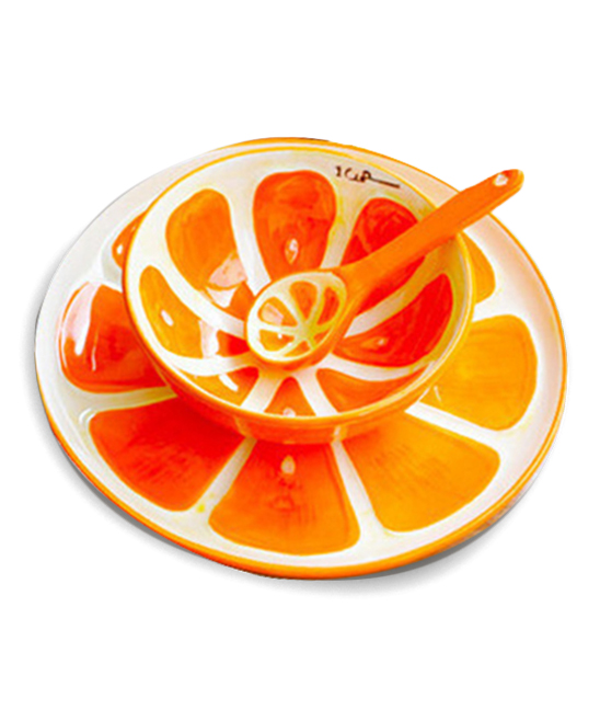 Orange Hand-Painted Fruit Plate Set