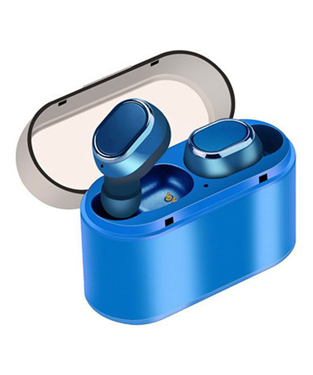 Tech Zebra  Wireless Headphones Blue - Blue Perfect Fit Wireless Headphones & Charging Case