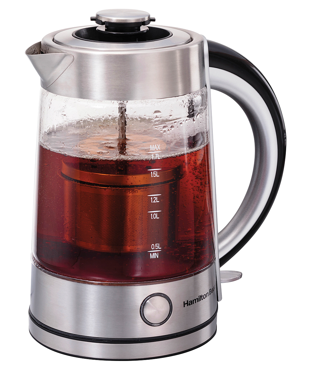 Hamilton Beach  Electric Kettles BLACK - Black Tea Steeping Glass Kettle Black Tea Steeping Glass Kettle. Skip the stove top and brew up a hot cup instantly with this steeping kettle that boils and steeps in one step. A cordless design lets you pass the kettle around the table.Holds 1.7 qt.8.88'' W x 11.88'' H x 8.88'' DCordless kettleBuilt-in infuserAutomatic shutoffGlassHand washImported