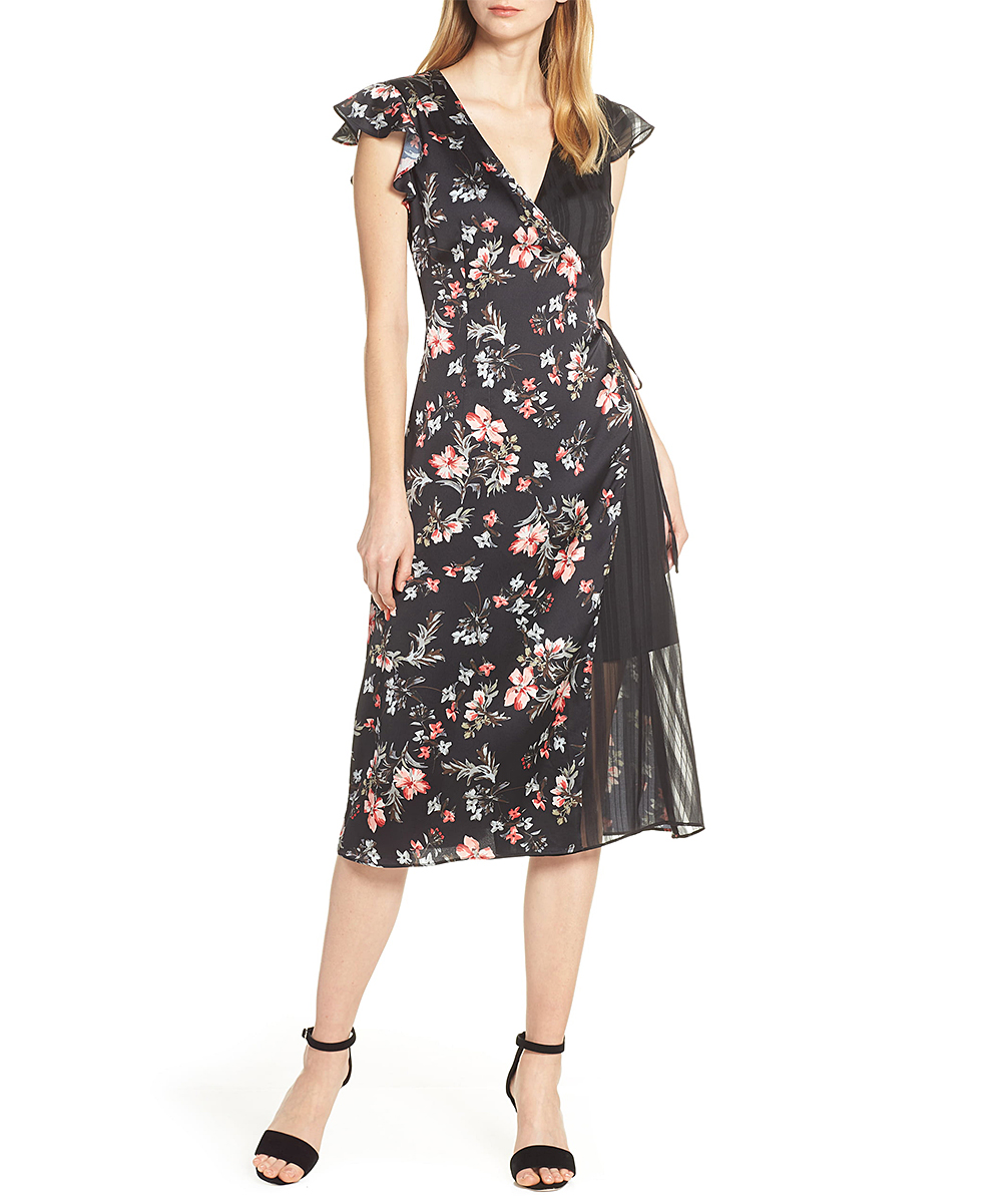 78574fe03e1c Avec Les Filles Black Floral Pleated Cap-Sleeve Wrap Dress - Women ...