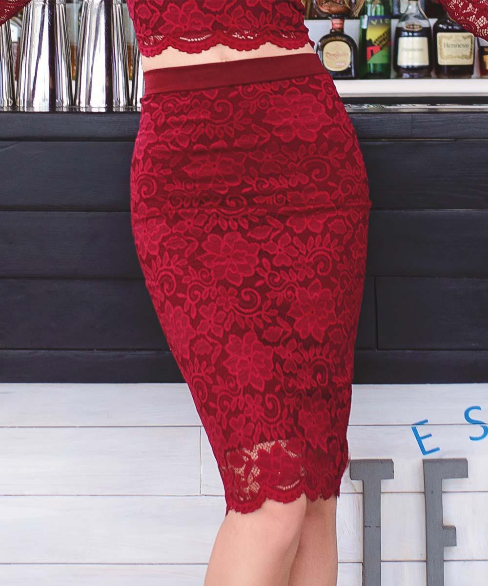 f93fb424b1342 Marani Burgundy Lace Pencil Skirt - Women | Zulily