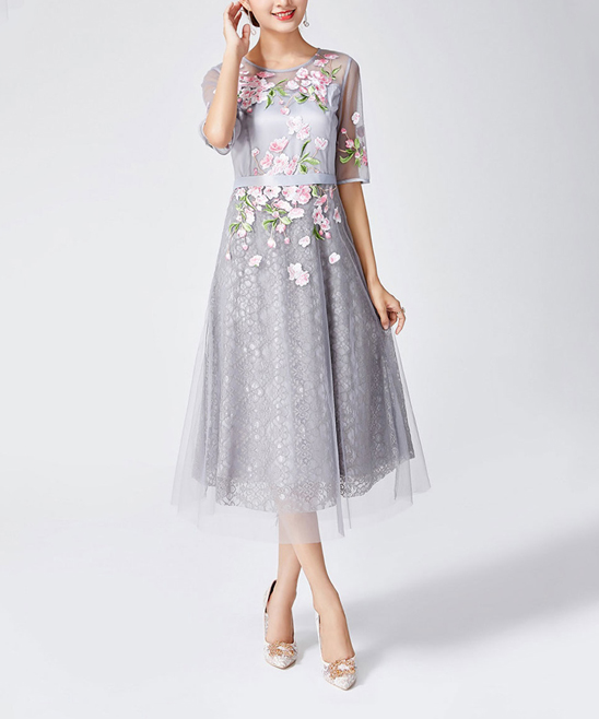 HALF SLEEVE EMBROIDERED FIT & FLARE DRESS - Women HALF SLEEVE EMBROIDERED FIT & FLARE DRESS - Women.