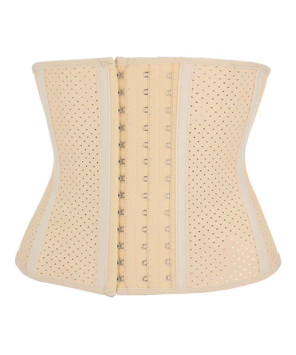 Coeur de Vague Apricot & White Adjustable-Hook Perforated Corset - Women &  Plus
