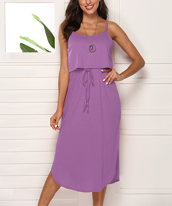 0fb6b1475649e Badosha Purple Tie-Waist Popover Midi Dress - Women | Zulily