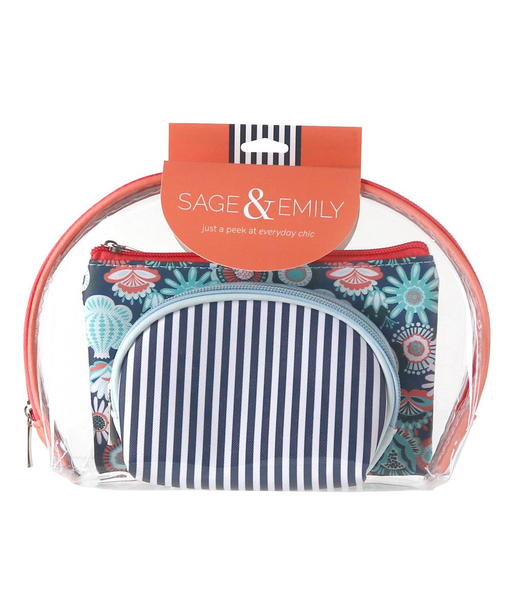 Sage & Emily Women's Makeup Bags CORAL - Three-Piece Coral Cosmetic Case Set