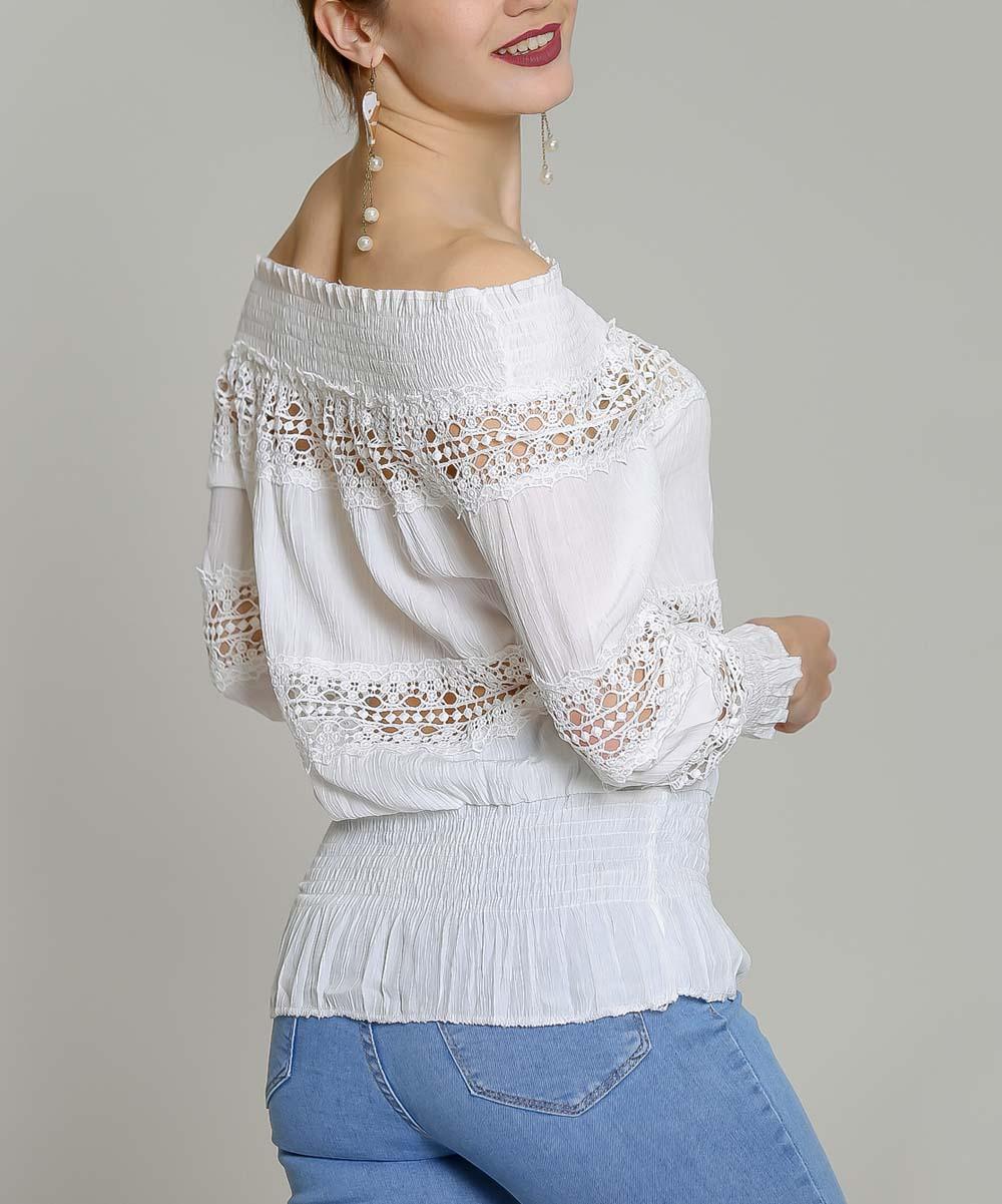 9801c607e07 ... Womens White White Crochet Three-Quarter Sleeve Off-Shoulder Top -  Alternate Image 3