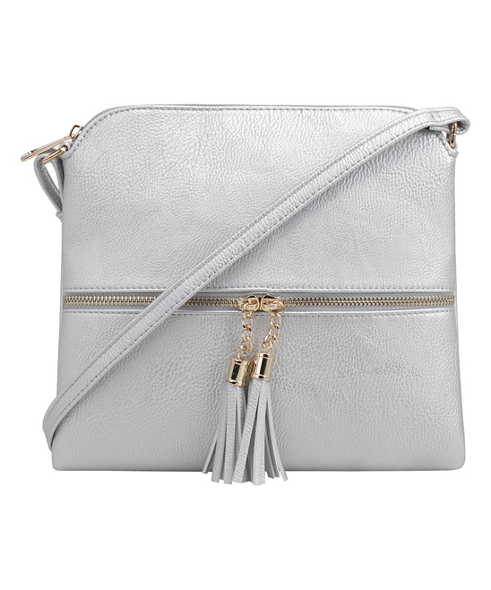 cfb6d1a5ce91c Deluxity Silver Two-Tassel Crossbody Bag | Zulily