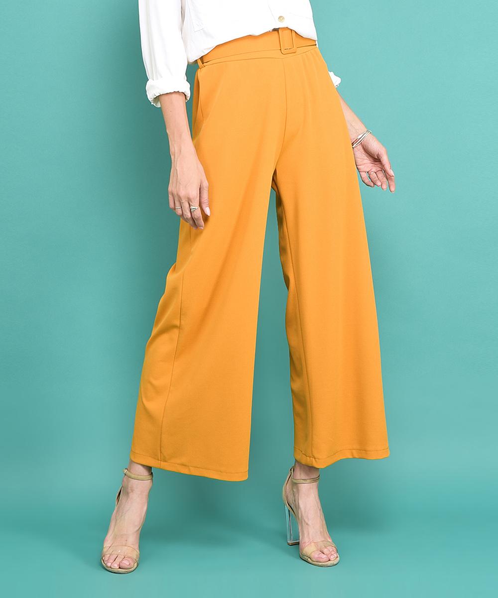 442e5f54 La Fille du Couturier Yellow Belted Venus Wide-Leg Pants - Women ...