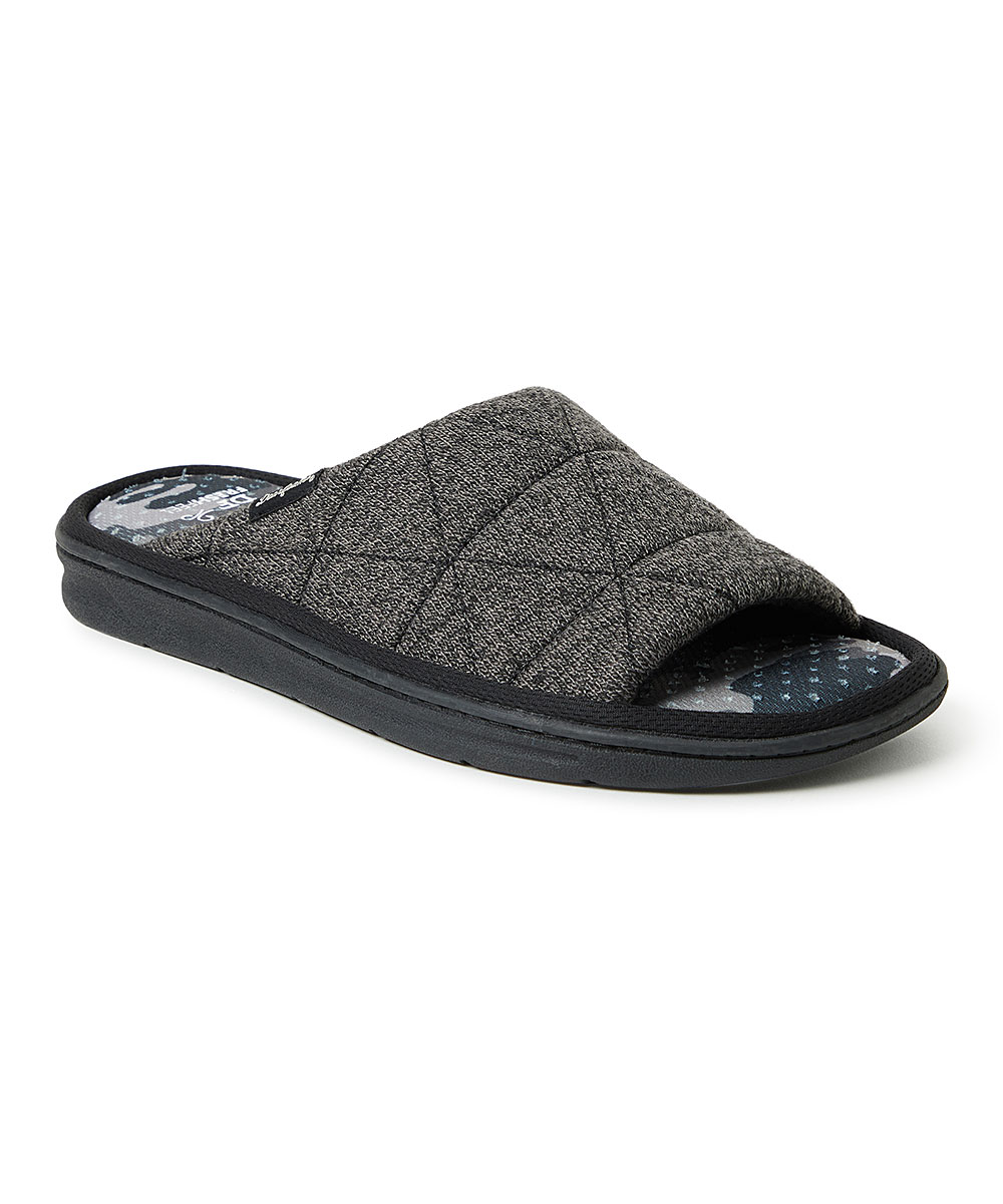 Heather Black & Blue Camo Quilted Slide - Men Heather Black & Blue Camo Quilted Slide - Men. Slip his stay-at-home feet into these quilted slides for a cozy, comfortable fit he just might try to sneak out of the house in.Textile upperFaux-fur liningMan-made soleImported