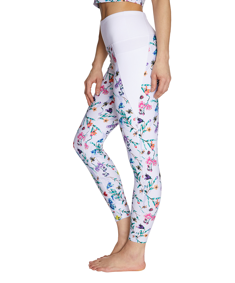 Betsey Johnson® White & Pink Floral High-Waist Leggings - Women